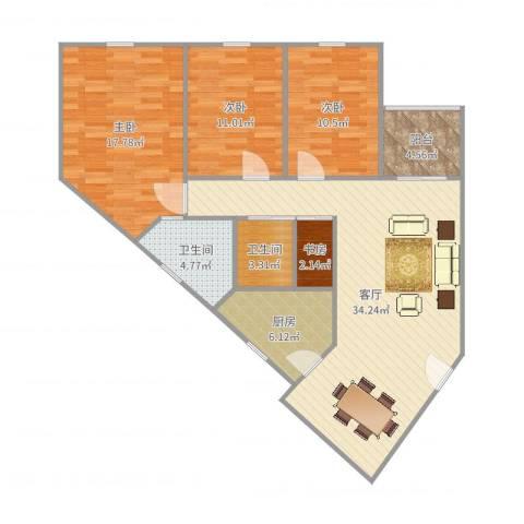 金湖雅苑4室1厅2卫1厨118.00㎡户型图