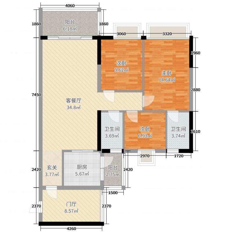 嘉逸园121.13㎡5栋1单元05户型3室3厅2卫1厨