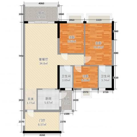 嘉逸园3室2厅2卫1厨121.00㎡户型图