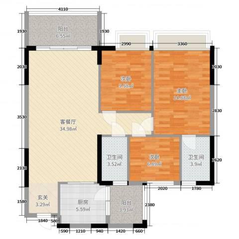 嘉逸园3室2厅2卫1厨114.00㎡户型图