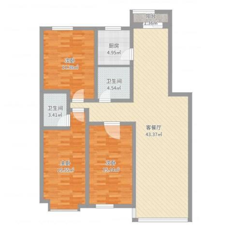 阳光苑3室2厅2卫1厨128.00㎡户型图