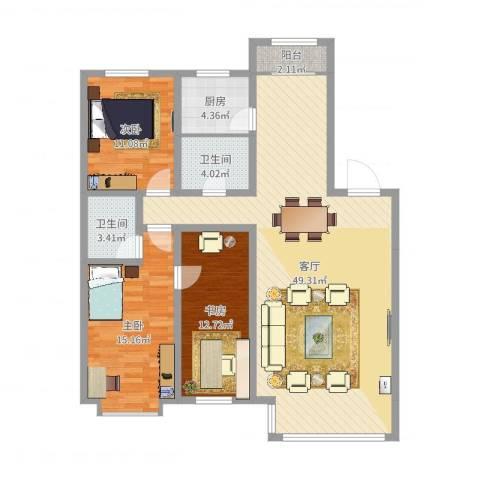 阳光苑3室1厅2卫1厨128.00㎡户型图