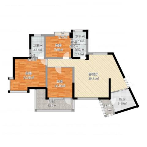 翰林雅居3室2厅2卫1厨111.00㎡户型图