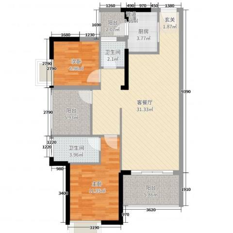 富盈公馆2室2厅2卫1厨89.00㎡户型图