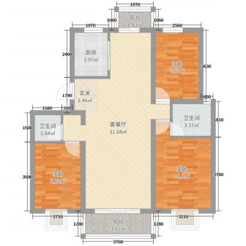 南苑小区3室2厅2卫1厨90.00㎡户型图