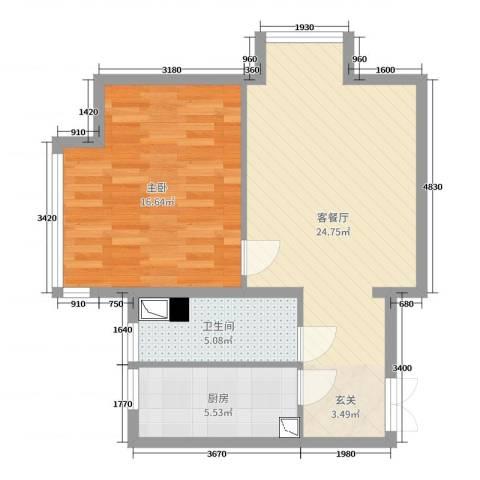K2・京南狮子城1室2厅1卫1厨65.00㎡户型图