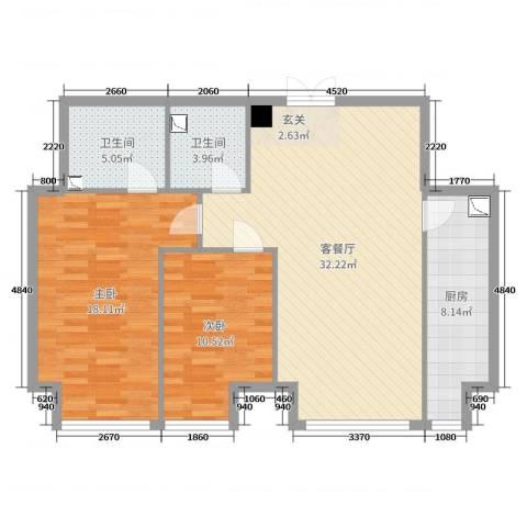 K2・京南狮子城2室2厅2卫1厨98.00㎡户型图