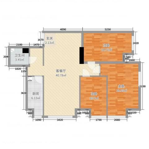 K2・京南狮子城3室2厅1卫1厨118.00㎡户型图