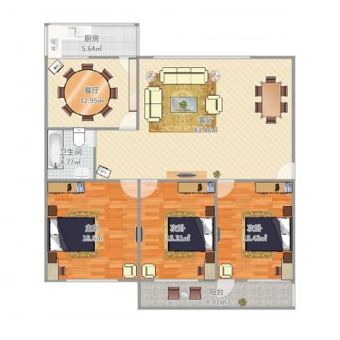 玫瑰花园3室2厅1卫1厨155.00㎡户型图