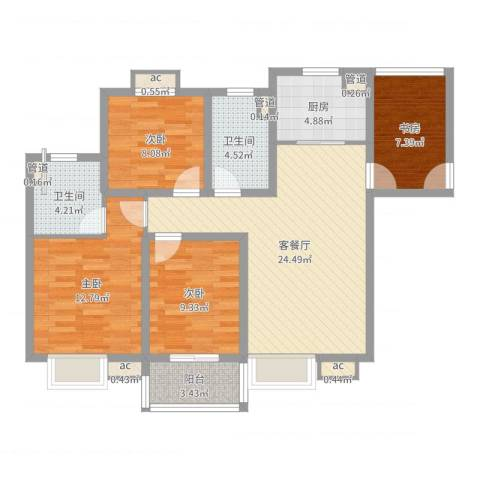 中瑾翰铂府4室2厅2卫1厨101.00㎡户型图