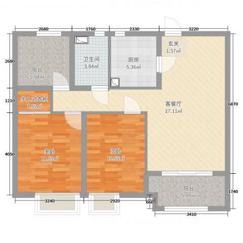 恒茂国际都会2室2厅1卫1厨102.00㎡户型图