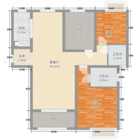 恒茂国际都会2室2厅2卫1厨130.00㎡户型图