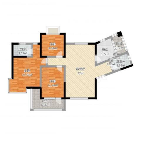 翰林雅居3室2厅2卫1厨114.00㎡户型图