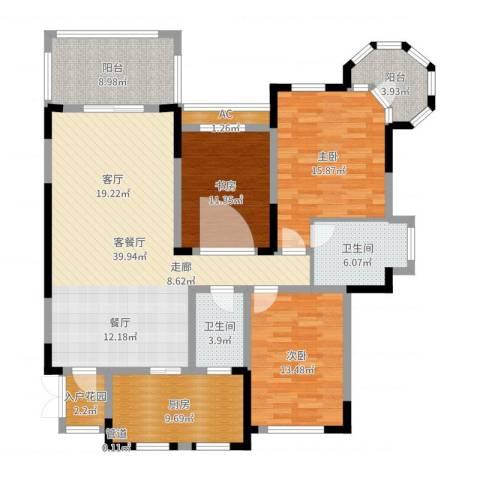 蓝光十里蓝山别墅3室2厅2卫1厨146.00㎡户型图