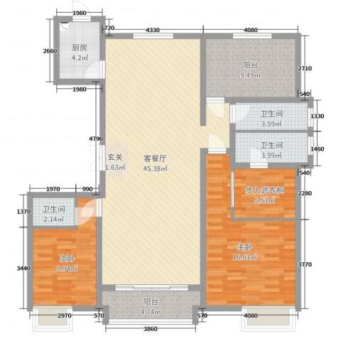 恒茂国际都会2室2厅3卫1厨193.00㎡户型图