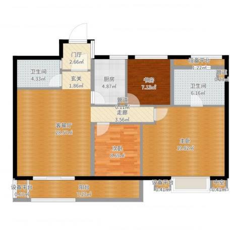 世茂君望墅3室2厅8卫1厨116.00㎡户型图