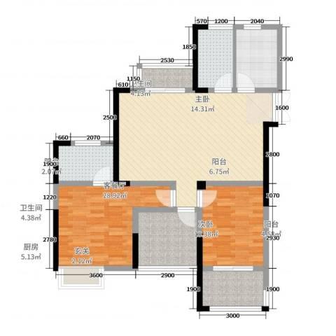 绿洲白马公馆2室2厅2卫1厨111.00㎡户型图