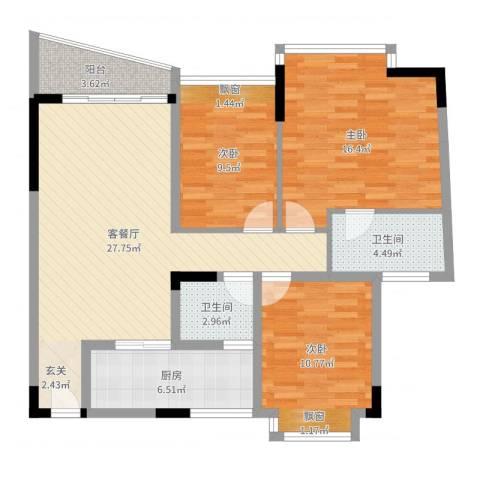 旗峰花园3室2厅2卫1厨102.00㎡户型图
