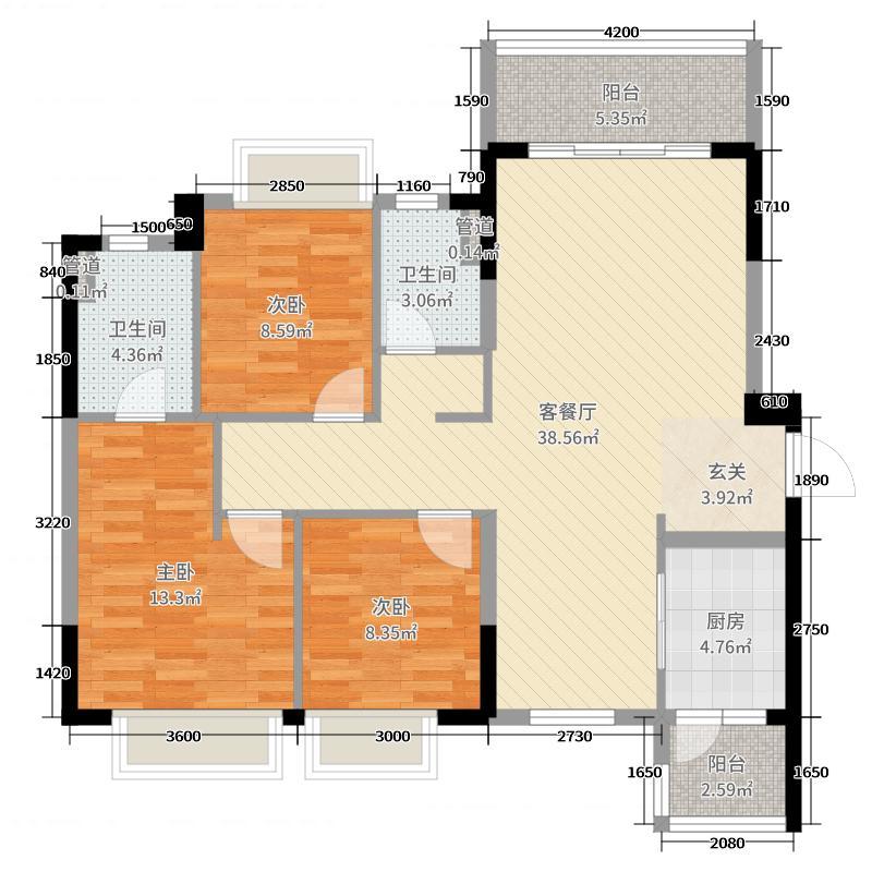 香榭水岸125.00㎡B户型3室3厅2卫1厨