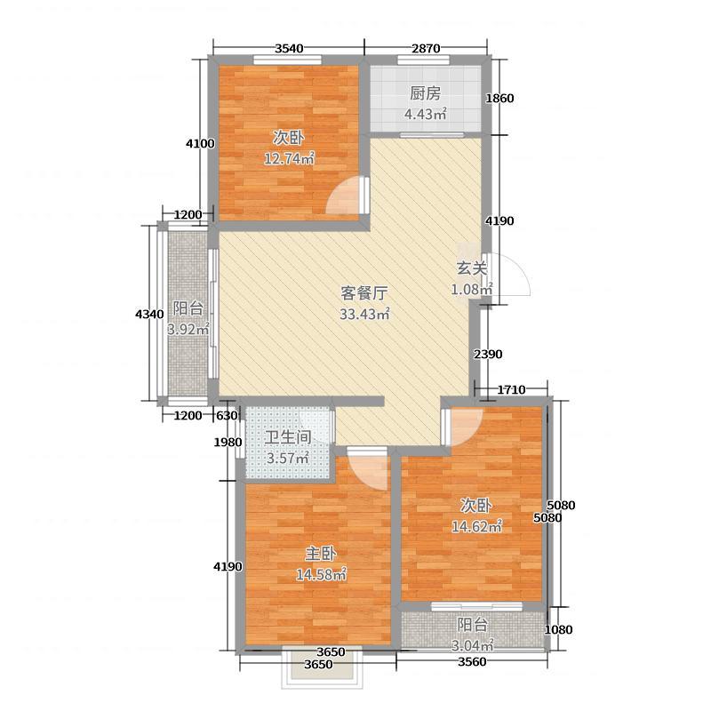 桃城春天111.63㎡4#5#户型3室3厅1卫1厨