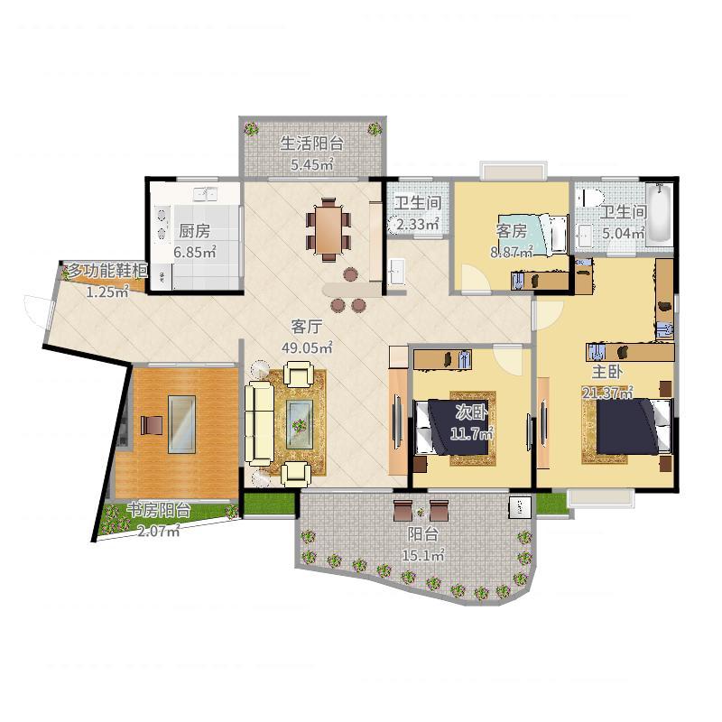 三期127房02型三室两厅两卫