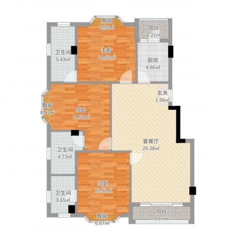 亚太新城3室2厅3卫1厨119.00㎡户型图