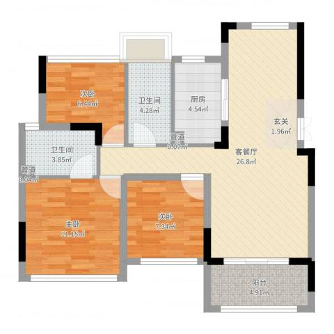 米特住区3室2厅2卫1厨87.00㎡户型图