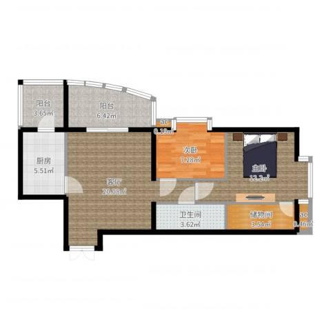 西豪逸景2室1厅1卫1厨79.00㎡户型图