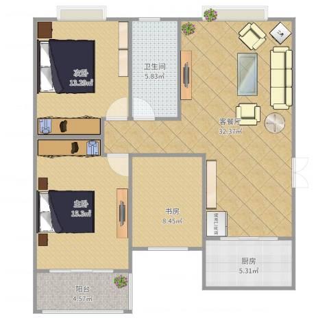禹香苑3室2厅1卫1厨106.00㎡户型图