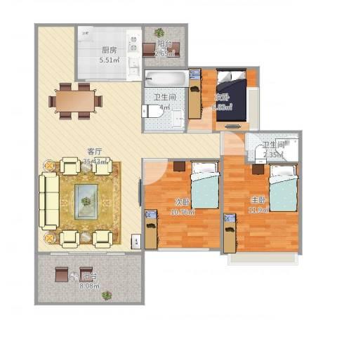 碧阳国际城3室1厅2卫1厨109.00㎡户型图