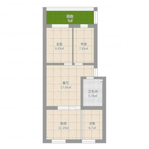 察北管理区龙腾花园小区3室1厅1卫1厨89.00㎡户型图