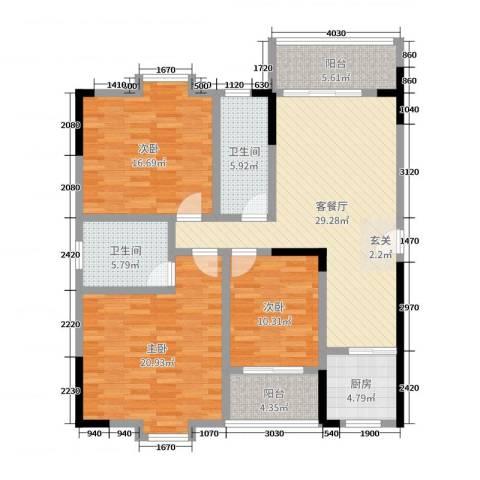 西源鑫大厦3室2厅2卫1厨138.00㎡户型图