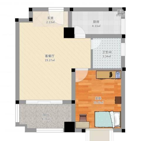 东苑新村1室2厅1卫1厨52.00㎡户型图