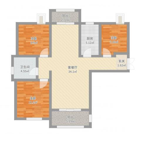 首钢首御3室2厅1卫1厨99.00㎡户型图