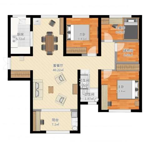 力高阳光海岸3室2厅2卫1厨111.00㎡户型图