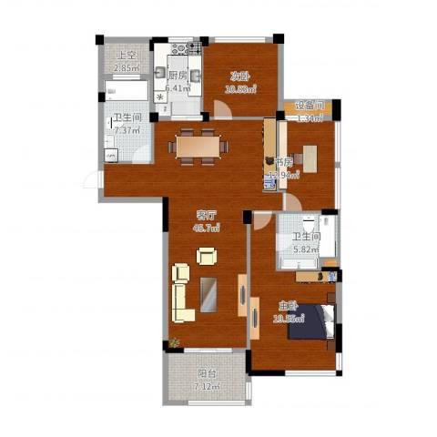 瓜渚绿洲2室1厅2卫1厨146.00㎡户型图