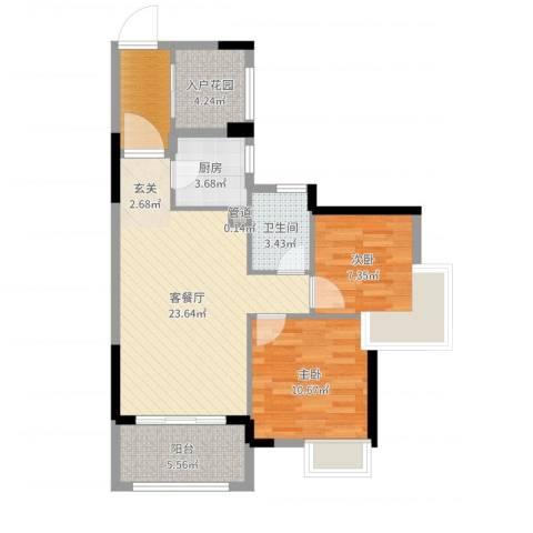 依云小镇2室2厅1卫1厨78.00㎡户型图