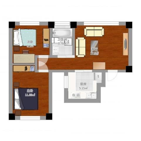 叠翠骏景2室1厅1卫1厨58.00㎡户型图