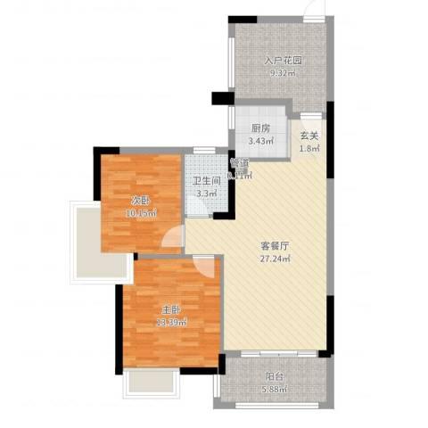 依云小镇2室2厅1卫1厨91.00㎡户型图