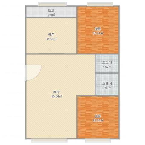 开元山庄2室2厅2卫1厨284.00㎡户型图
