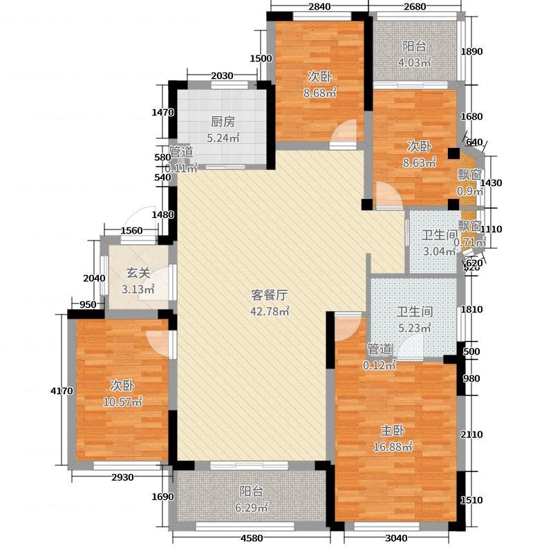 中粮祥云国际143.00㎡洋房1-3#边户三层东边0C-1户型4室4厅2卫1厨