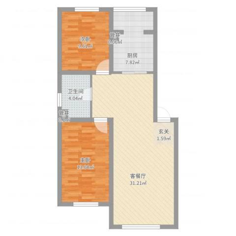 天安雅居2室2厅1卫1厨94.00㎡户型图
