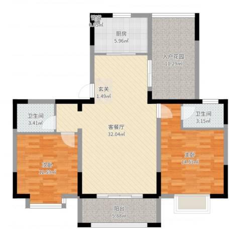 君临华庭2室2厅2卫1厨111.00㎡户型图