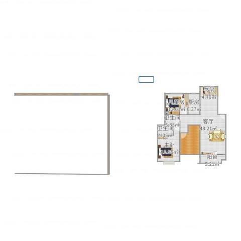 安粮中央花园2室1厅2卫1厨144.00㎡户型图