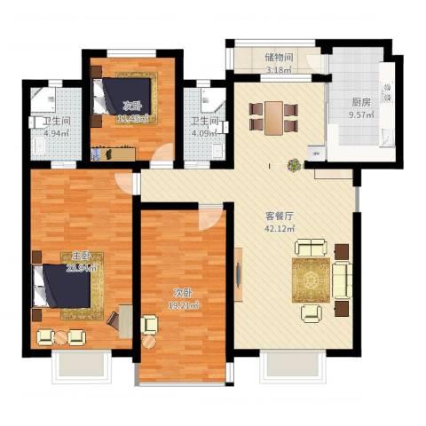 东润豪景3室2厅2卫1厨152.00㎡户型图