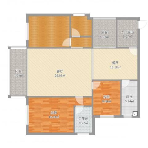 国际佳缘2室2厅1卫1厨142.00㎡户型图