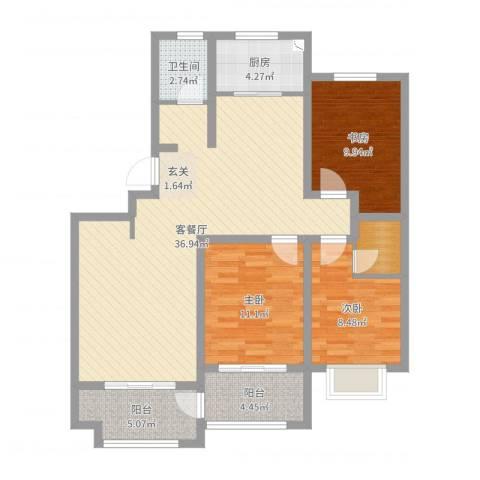 双龙居小区3室2厅1卫1厨106.00㎡户型图