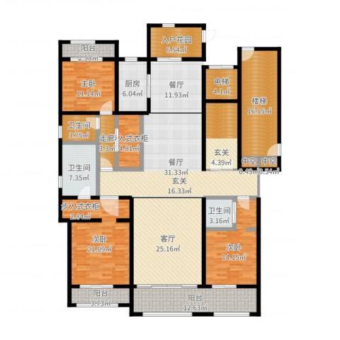 巨凝金水岸3室2厅3卫1厨234.00㎡户型图