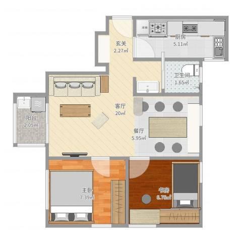 南洲名苑2室1厅1卫1厨54.00㎡户型图