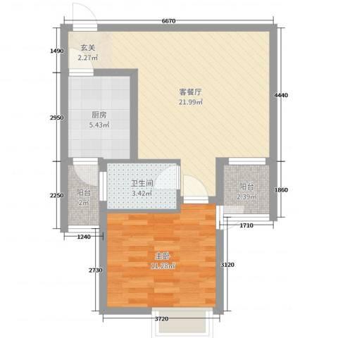 海悦国际1室2厅1卫1厨58.00㎡户型图